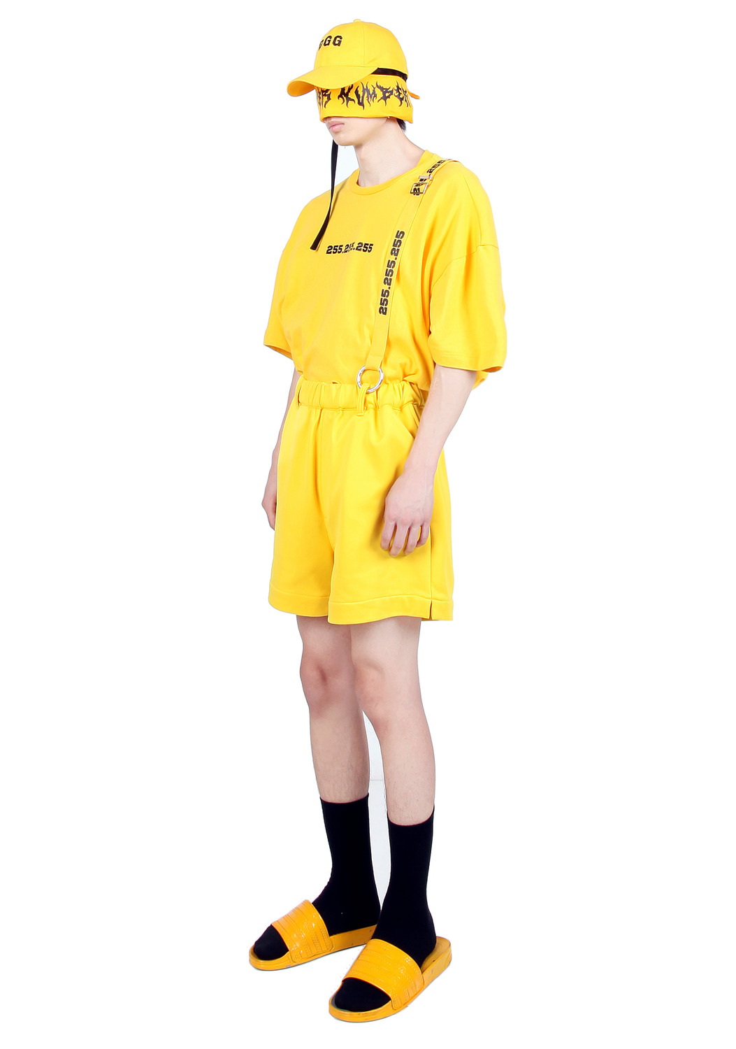 YELLOW SUSPENDER SHORTS